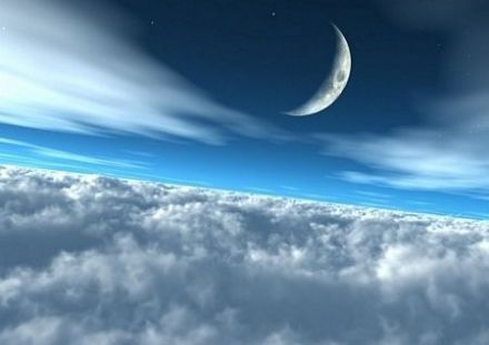 Moon over clouds paper wall wallpaper